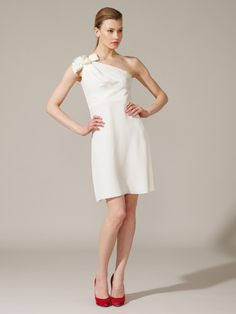 Silk One Shoulder Bow Dress by Valentino.