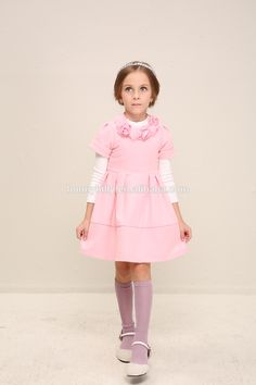 Short sleeve pink winter dresses for kids , childrens clothes sale, 9 years old girl dress