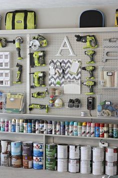 Organizing the Garage with DIY Pegboard Storage Wall WOW — just wow! Love love love this organization in their garage! DIY Garage pegboard for tools, spray paint and supplies. Only need inches for depth. {The Creativity Exchange} Pegboard Garage, Pegboard Organization, Diy Garage Storage, Garage Tools, Organisation Hacks, Organized Garage, Kitchen Pegboard, Storage Ideas, Ikea Pegboard