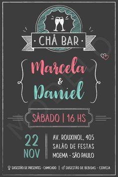Convite Digital Chá Bar - Chalkboard #chalkboard #chá bar #convite