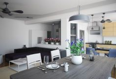 Grey Ceiling Fans Above Purple Sofa Sets And Soft Blue Pendant Lights Above White Dining Chairs Furniture
