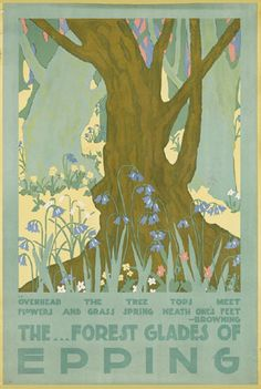 London Underground poster: The forest glades of Epping Posters Uk, Railway Posters, Poster Prints, Online Posters, Vintage Maps, Vintage Travel Posters, Epping Forest, London Transport Museum, London Pictures