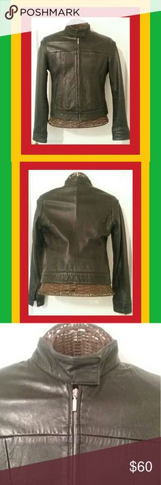 100% LEATHER IS ALWAYS BETTER 100% Real leather vintage moto jacket. It says its a medium but fits like an extra small. Excellent condition.  No tears or stains. Very soft and form fitting. Ask for  50% off! American Base Jackets & Coats
