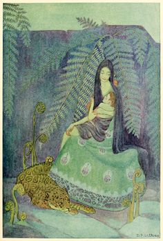 Dorothy P. Lathrop 'She raised him in her arms and pressed him to her bosom, wrapping her hair like a warm mantle around him' from A Little Boy Lost by W. H. Hudson (1920)