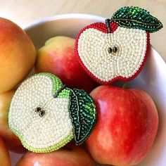 Cute & tiny Apple embroidered brooch (red or green)