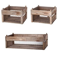 Wood and Chicken Wire Baskets, Set of 3