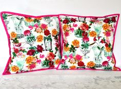 16x16 pillow cushion cover, roses in vases - so charming! 20% of sale price is donated to Make For Good on Etsy, creating brighter futures. Makeforgood Rose Cushion Cover 16 square by AddaSplashofColour