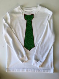 Boy's tie T-Shirt, Size 6 to 7 ,long cuffed sleeve, White Tee with Christmas, green tie applique with red stitching, cotton blend by AnnaBellesFavorites on Etsy