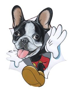 French Bulldog as Mickey Mouse sketch by Jeroen Teunen Bulldog Meme, Bulldog Cartoon, French Bulldog Art, French Bulldog Puppies, Mickey Mouse Sketch, Boston Terrier Art, Tattoo Foto, Dog Pop Art, Dog Games