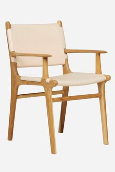 Leather Dining Carver Chair, Flat - Teak & Natural