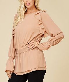 Look what I found on #zulily! Nude Long Sleeve Ruffled Peplum Top #zulilyfinds