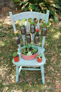 Chair Garden Planter i love this, i have some old chairs, i think this will be my next project!i love this, i have some old chairs, i think this will be my next project! Garden Chairs, Garden Planters, Succulents Garden, Herb Garden, Tire Planters, Yard Art, Mason Jar Crafts, Mason Jars, Chair Planter