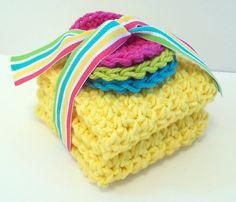 Crochet Dishcloths Washcloths  Set of 2 and 3 by NicoleMichael
