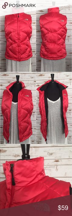 """THE NORTH FACE 550 Insulated Down Puffer Vest The North Face Women's quilted and insulated jacket is a lightweight down jacket perfect for daily life. Colors:  Melon/Coral. Back inside. •Plenty of 550 fill down to make it in the snowy outdoors, but not so much that you're looking like a marshmallow.  •Diamond shaped baffles for a slimmer fit.  •Zippered hand pockets. •A wind flap over the front zipper and elastic cuffs. Underarm to underarm: 21""""(W) Length: 29""""(L)/From top of collar to…"""