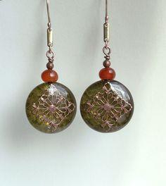 Green dangle resin  earrings  resin earrings by copperryfields, $45.00