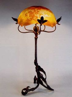 Emile Gallé, Nancy, (1846-1904), Blown, Internal Inclusions, Cased, Engraved and Bronze Mounted Glass Lamp.