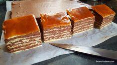 Prajitura Dobos reteta veche pas cu pas - Tort Dobos dreptunghiular   Savori Urbane Homemade Sweets, Sweets Recipes, Bacon, Deserts, Cheese, Breakfast, Food, Christmas, Crafts