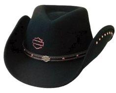 Harley Davidson Cowboy Hats Western Hats, Cowboy Hats, Cowboy Western, Equestrian Outfits, Equestrian Style, Harley Davidson Hats, Harley Gear, Motorcycle Style, Biker Chick