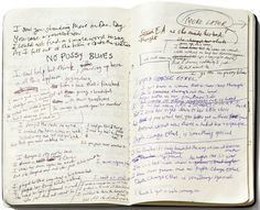 One of Nick Cave's many notebooks with original lyrics for 'No Pussy Blues.'
