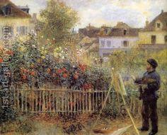 Claude Monet Painting In His Garden At Argenteuil by Pierre Auguste Renoir