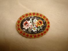 "Vintage MICRO MOSAIC Roses Oval PIN signed Italy ~ (1-3/8"" x 1"") ~ Black, red by PastPossessionsOnly on Etsy"