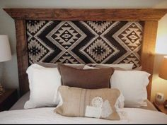 We love a good DIY project. Get inspired to try a DIY southwest fabric project this weekend and give your space a boost. Let your creativity shine on! My New Room, My Room, Home Bedroom, Bedroom Decor, Aztec Bedroom, Reclaimed Wood Frames, Timber Frames, Southwest Decor, Southwest Bedroom