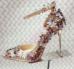 New Womens Stylish Floral Ankle Strap High Stiletto Heels Pointed Toe Shoes Gold