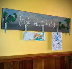 Dinosaur Brag Board - Custom Childrens Art Display - Look What I Did. $49.00, via Etsy.
