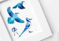 Blue Jay art, Instant download, Printable art, Scrapbooking art, Bird clip art, Lounge wall art, Downloadable home decor, Geometric bird art