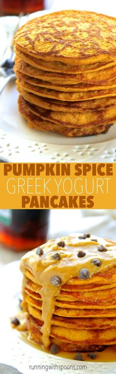 Pumpkin Spice Greek Yogurt Pancakes -- light, fluffy, and made in the blender, enjoy the ENTIRE recipe for under 300 calories with 20g of protein!    runningwithspoons... #pumpkin #pancakes #breakfast