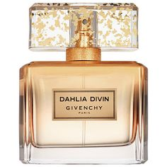 Shop Dahlia Divin Le Nectar de Parfum by Givenchy at Sephora. This fragrance is as luxurious as gold leaf with notes of mimosa, jasmine, rose, and tonka bean. Perfume Hermes, Perfume Lady Million, Perfume Versace, Perfume Diesel, Perfume Scents, Fragrance, Makeup