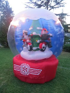 Gemmy Airblown Inflatable Christmas North Pole Carousel Motorcycle Chopper Biker | eBay