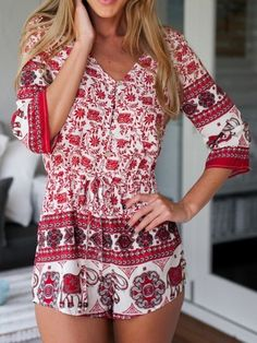 Red,Floral,Leaves,Elephant Print,V Neck,Romper,Playsuit