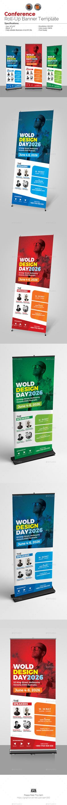 Conference / Event Roll-Up Banner Template Vector EPS, AI Illustrator