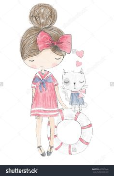 girl print/T-shirt print/cat print/Book illustrations for children/Romantic hand drawing poster/cartoon character/For apparel or other uses in vector/animal lover