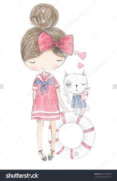 Girl Print/Girl Illustration/Romantic Girl/Cute Girl/T-Shirt Print/Cat Pattern/Animal Pattern/Princess Girl/Girl Sticker/Pretty Girl/Little Girl/Girl Pattern/Animal Vector/Beautiful Girl/Marine Girl - 437025946 : Shutterstock