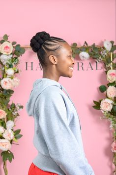 Bubble bun with plaits. Perfect for ballet and gymnastics. Natural Hair Salons, Natural Hair Styles, Plaits, Gymnastics, Bubbles, Ballet, Hairstyles, Bang Braids, Fitness