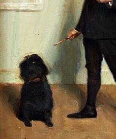 Bernhard Österman (Swedish, 1870-1938), Self-portrait with dog, undated ( détail ). Panel.
