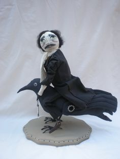 Love... Edgar Allan Poe and raven handmade by Pins and Needles Primitives LLC by Stephanie L Cass