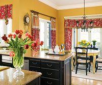 No-Fail Kitchen Color Combinations, love the combination of drapes, just topper, just side drape and full window.