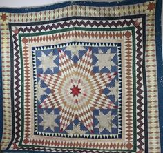 Rare-1850's Lonestar Patchwork Quilt- Great Colors and Design- Nice!   eBay