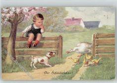 Kinder Hund Gänse