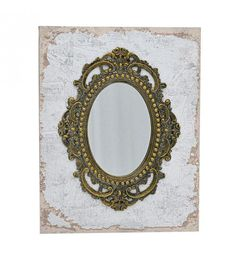 MDF_POLYRESIN WALL MIRROR IN SILVER-GOLD COLOR 38X3X48