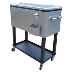 80 Qt Oakland Patio Cooler Finish Metallic Silver * To view further for this item, visit the image link. (This is an affiliate link) #CoolersandAccessories