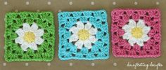 With light pastel colors you can work up this fun Spring Granny Square Crochet Pattern. This is an easy crochet pattern that can be joined to make a granny square blanket, or left alone and used as a pot holder or coaster. Crochet Squares Afghan, Granny Square Crochet Pattern, Crochet Daisy, Diy Crochet, Flower Crochet, Margarita Crochet, Granny Square Häkelanleitung, Granny Squares, Square Quilt