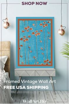 Vintage wall art by Japanese artist Watanabe Seitie. Visit us to see his full collection. #watanabeseitie #vintageart #blueart Bedroom Canvas, Bedroom Artwork, Vintage Wall Art, Vintage Walls, Vine Wall, Blue Painting, Japanese Artists, Blue Art, Shades Of Blue