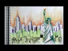 Sketching - Skizzieren der Skyline von New York
