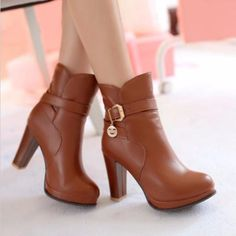 Fashion Buckle Strap Chuncky Heels Women Ankle Boots