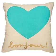 Bonjour Throw Pillow (Mint)
