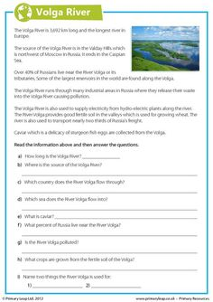 This year 6 geography worksheet includes interesting facts about the Volga River. Children read the comprehension and answer the questions. www.primaryleap.co.uk